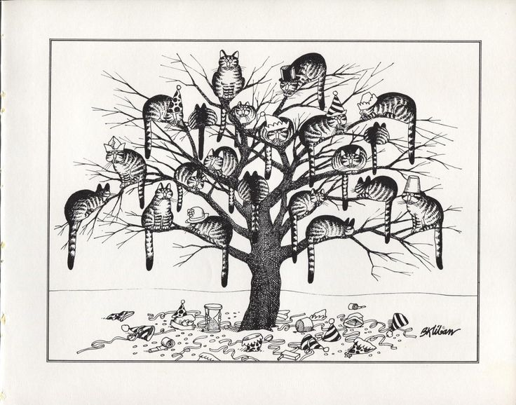 cat party in a treejpg happy new year